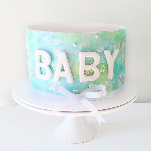 Blue Green Watercolour Cake