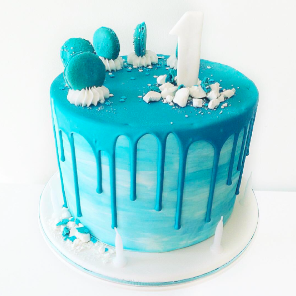 Blue Drip Watercolour Cake