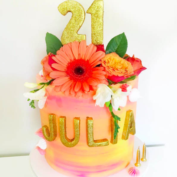 Orange, Pink & Yellow Watercolour Cake