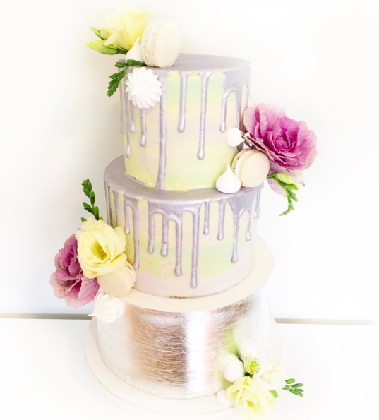 Watercolour Wedding Cake with Silver Leaf