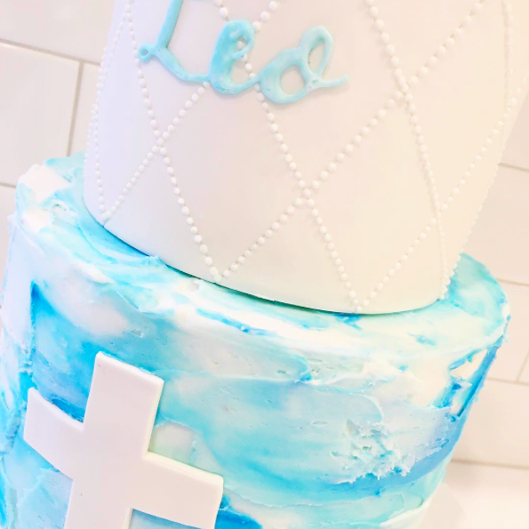 Blue Watercolour Buttercream Cake