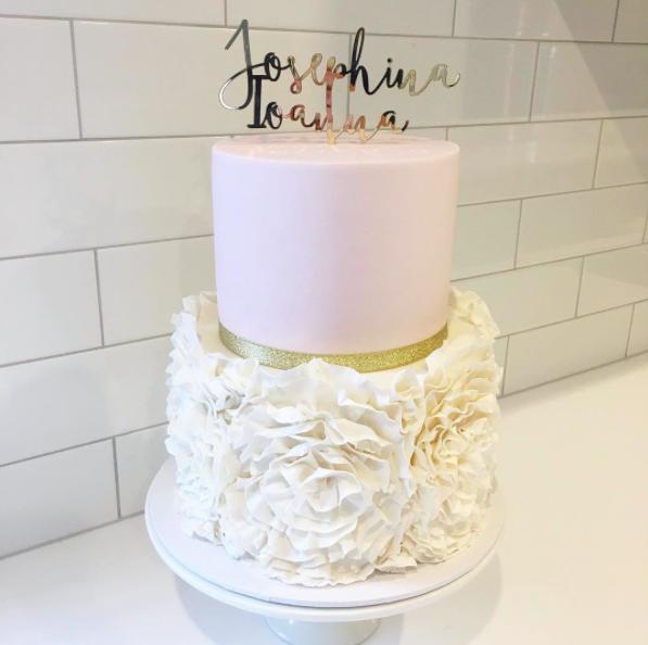 Pink & White Ruffle Cake