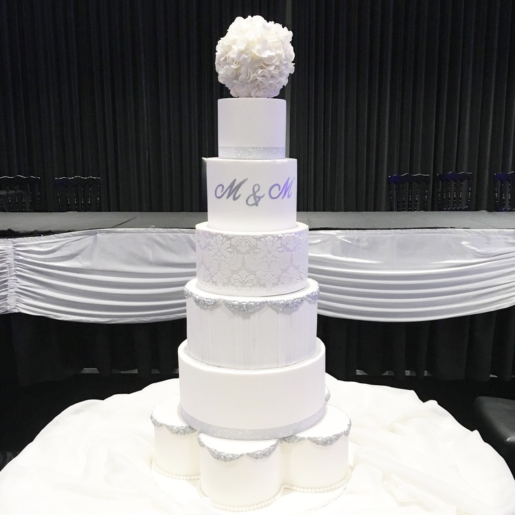 Silver & White Showstopper Wedding Cake