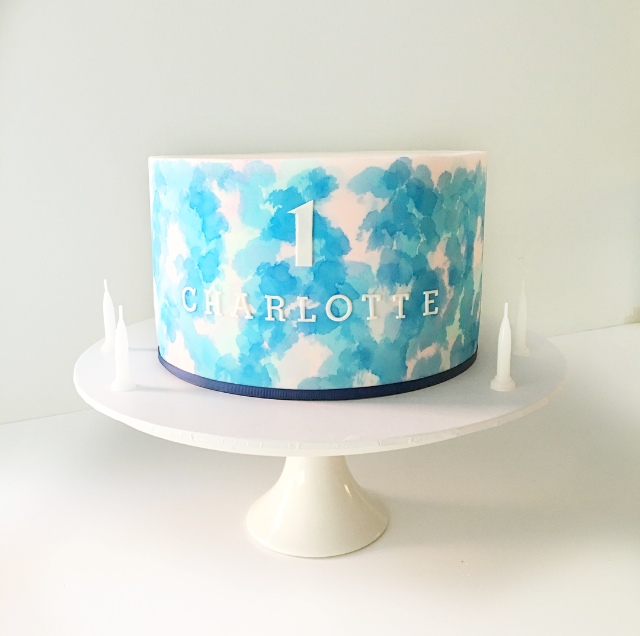 Blue & Pink Watercolour Cake