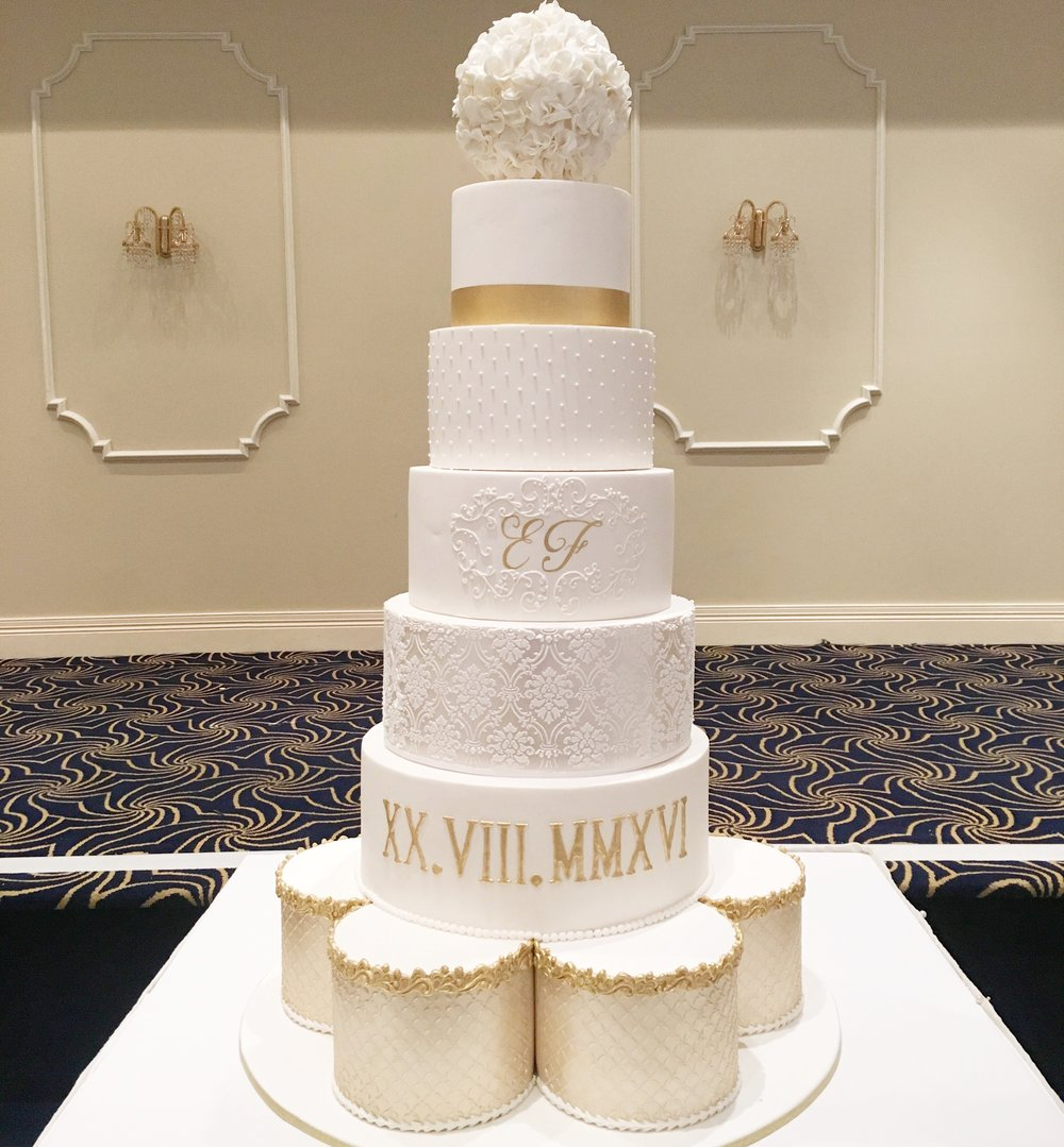 Gold & White Showstopper Wedding Cake