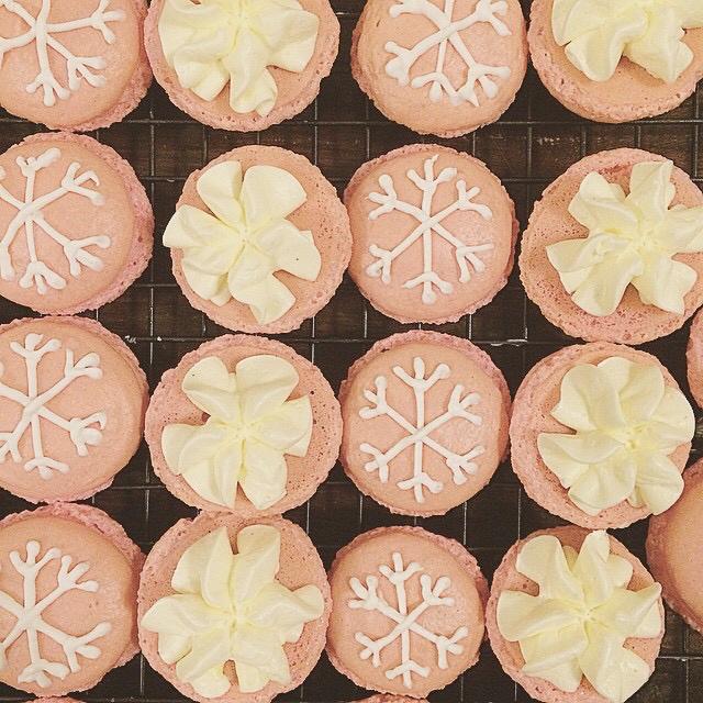 Pink Snowflake Macarons