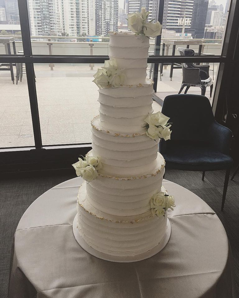Tall Buttercream Wedding Cake