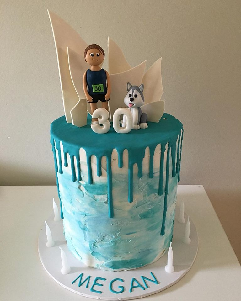 Blue Watercolour 30th Birthday Cake