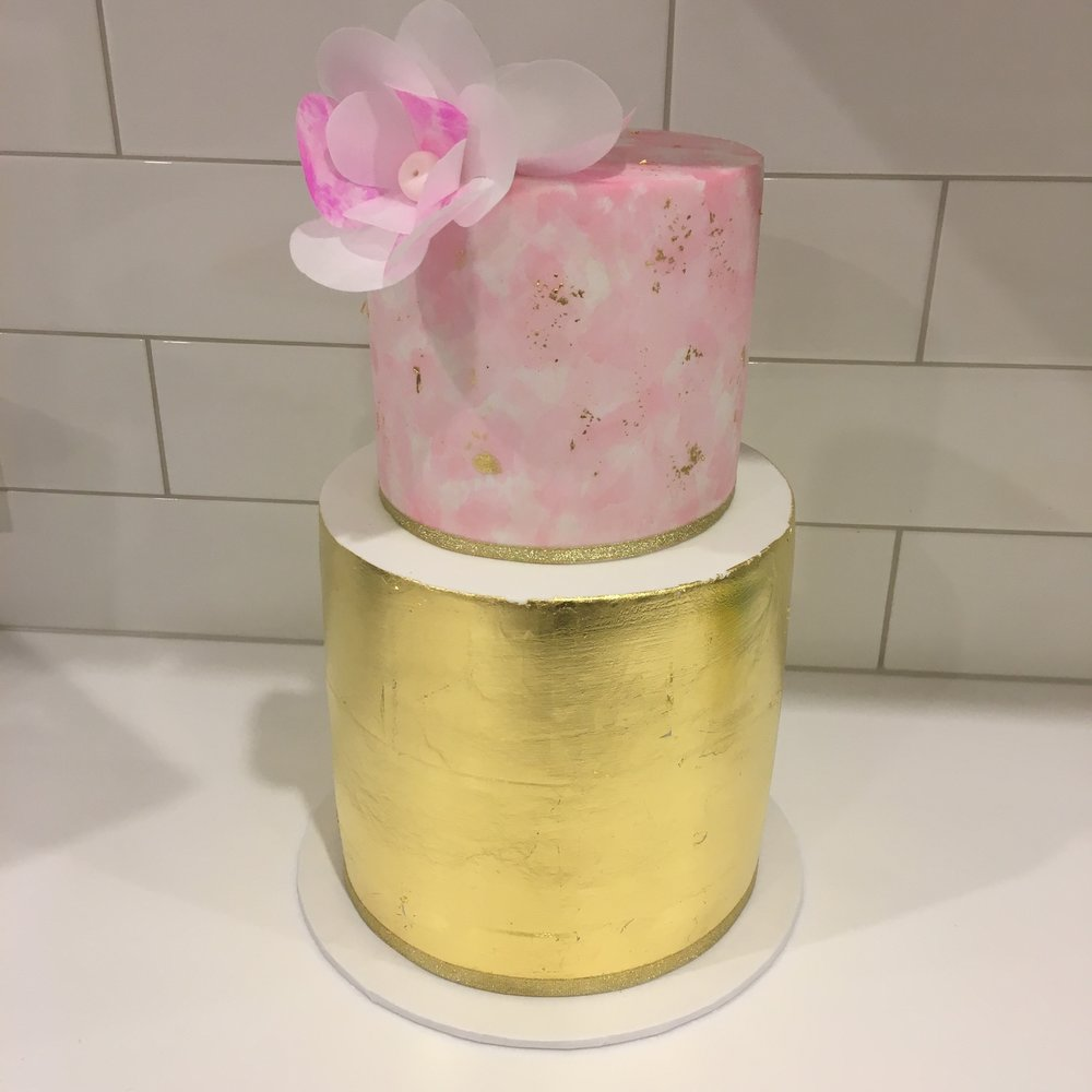 Pink Watercolour Cake with Gold Leaf