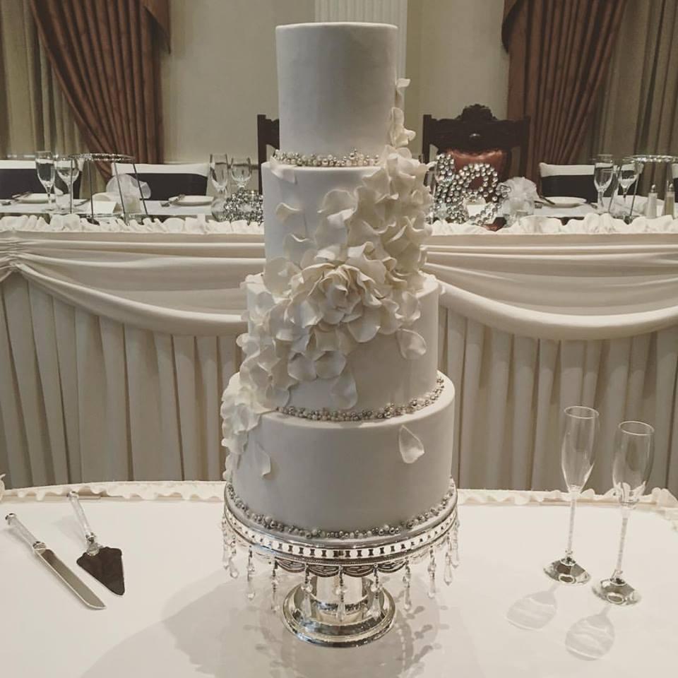 White Wedding Cake with Flowers