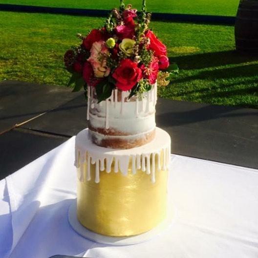 Gold Leaf Naked Wedding Cake