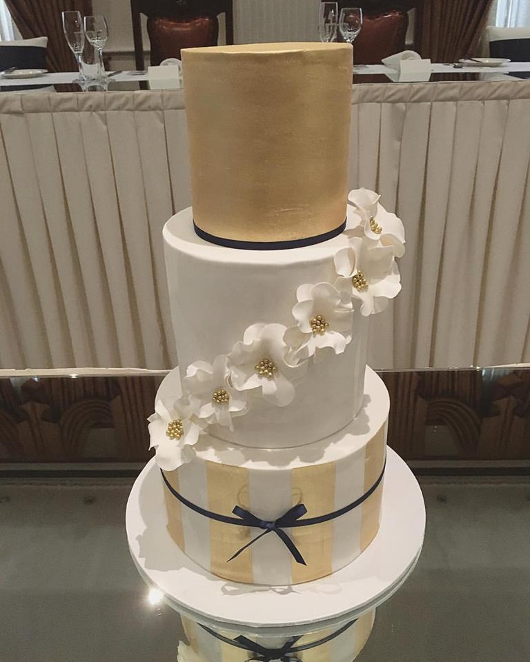 Gold Stripe Wedding Cake