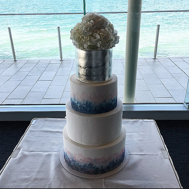 Blue & Silver Wedding Cake