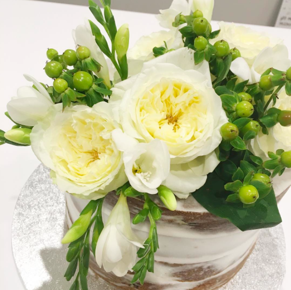Naked Engagement Cake with White Flowers