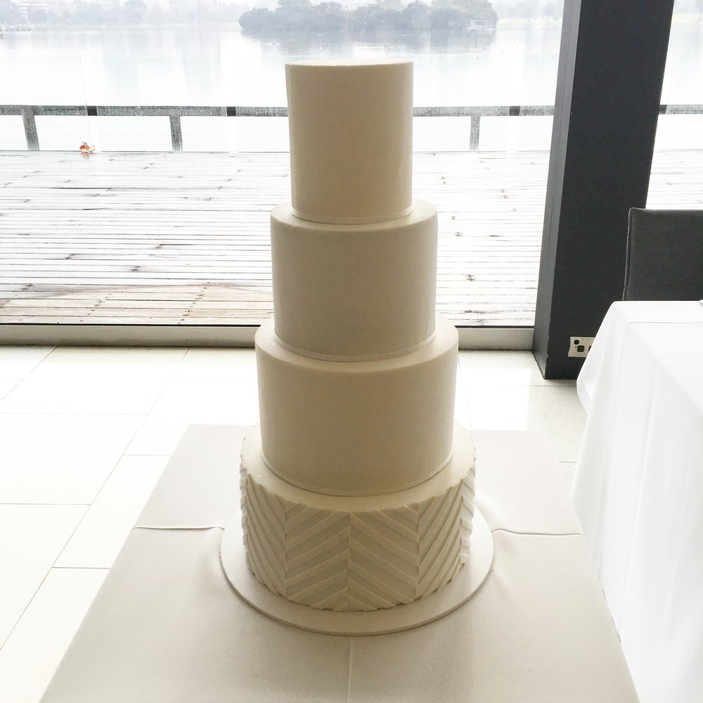 White Wedding Cake with Pattern