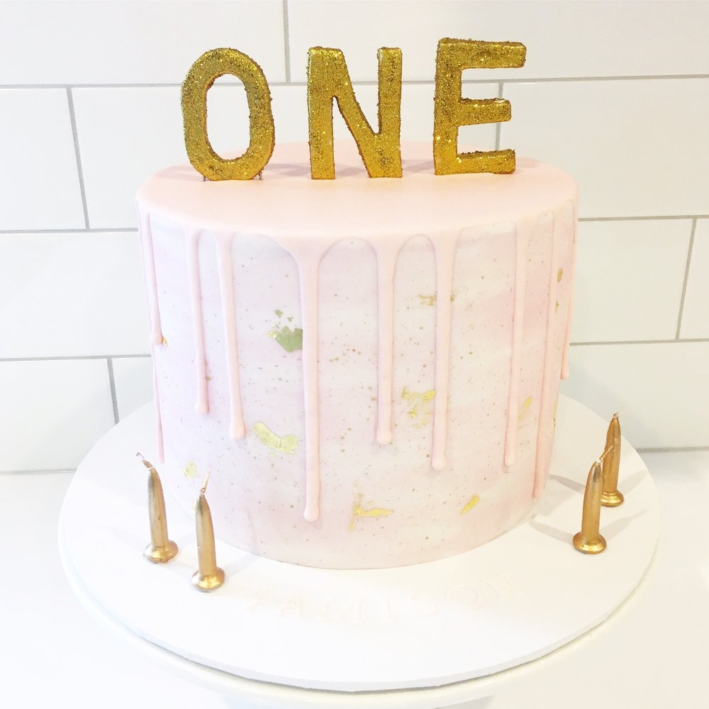 Pink Watercolour Cake with Pink Drip