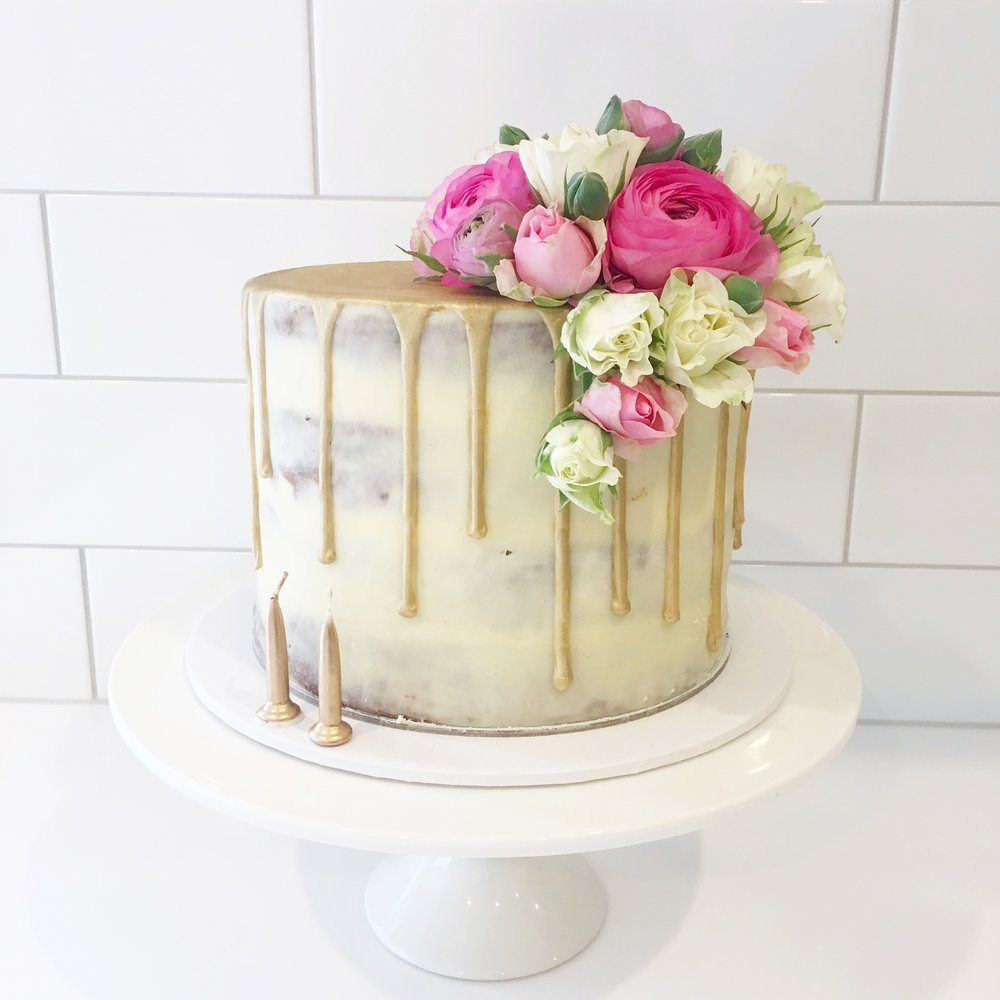 Naked Cake with Gold Drip