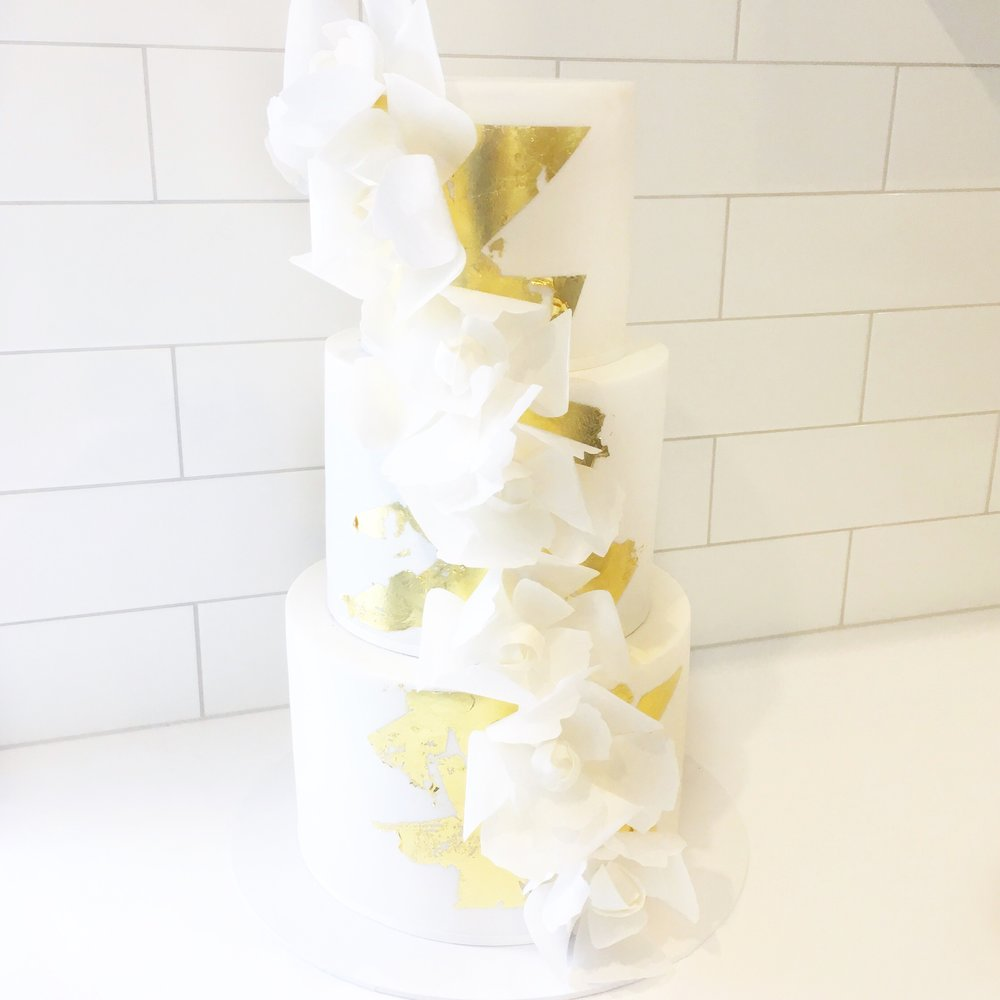 Wedding Cake with Wafer Flowers
