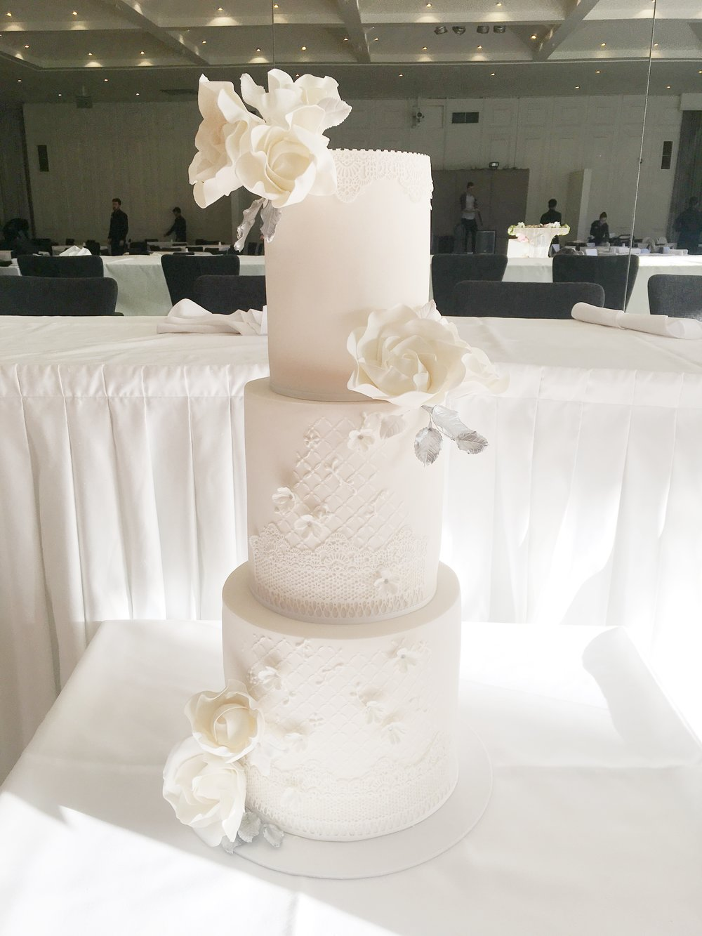 White Wedding Cake with Sugar Flowers