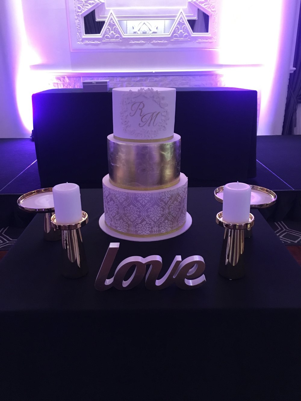 Gold Leaf Wedding Cake with Initials