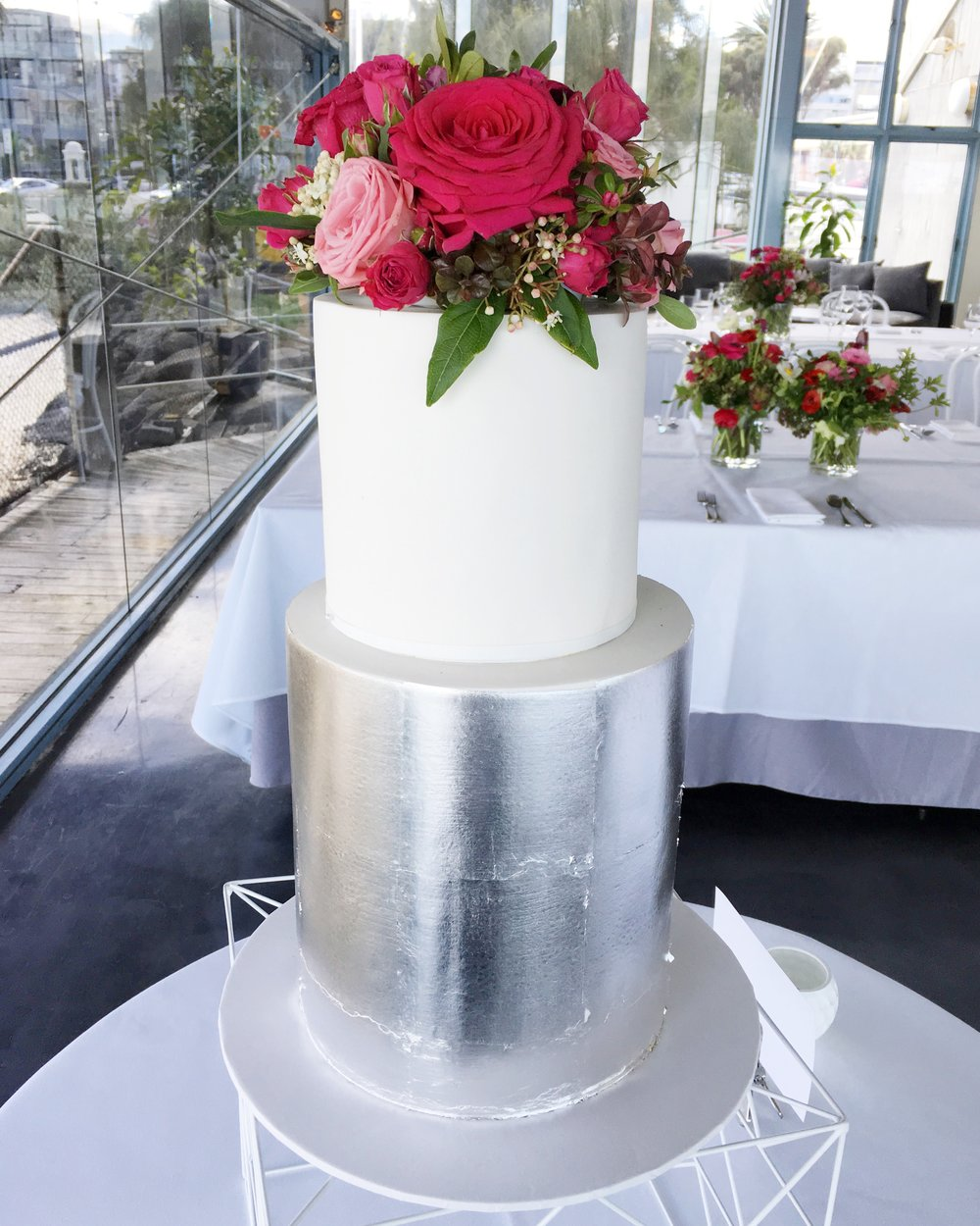 Silver Leaf Wedding Cake with Red Flowers