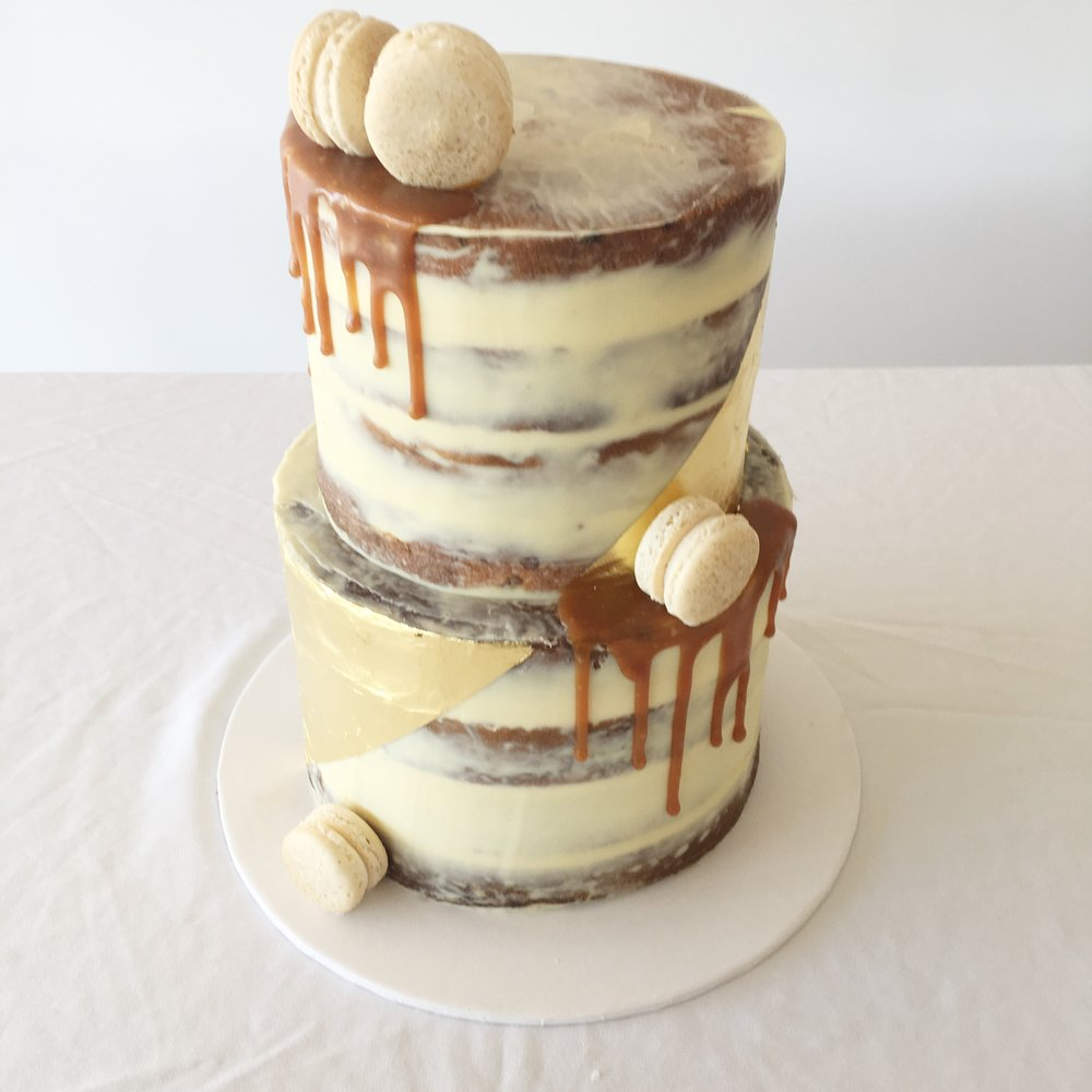 Naked Cake with Gold Leaf & Caramel Drip