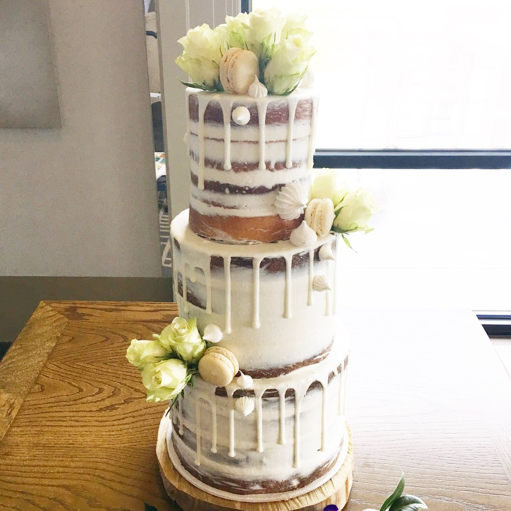Naked Cake with White Drip & Flowers