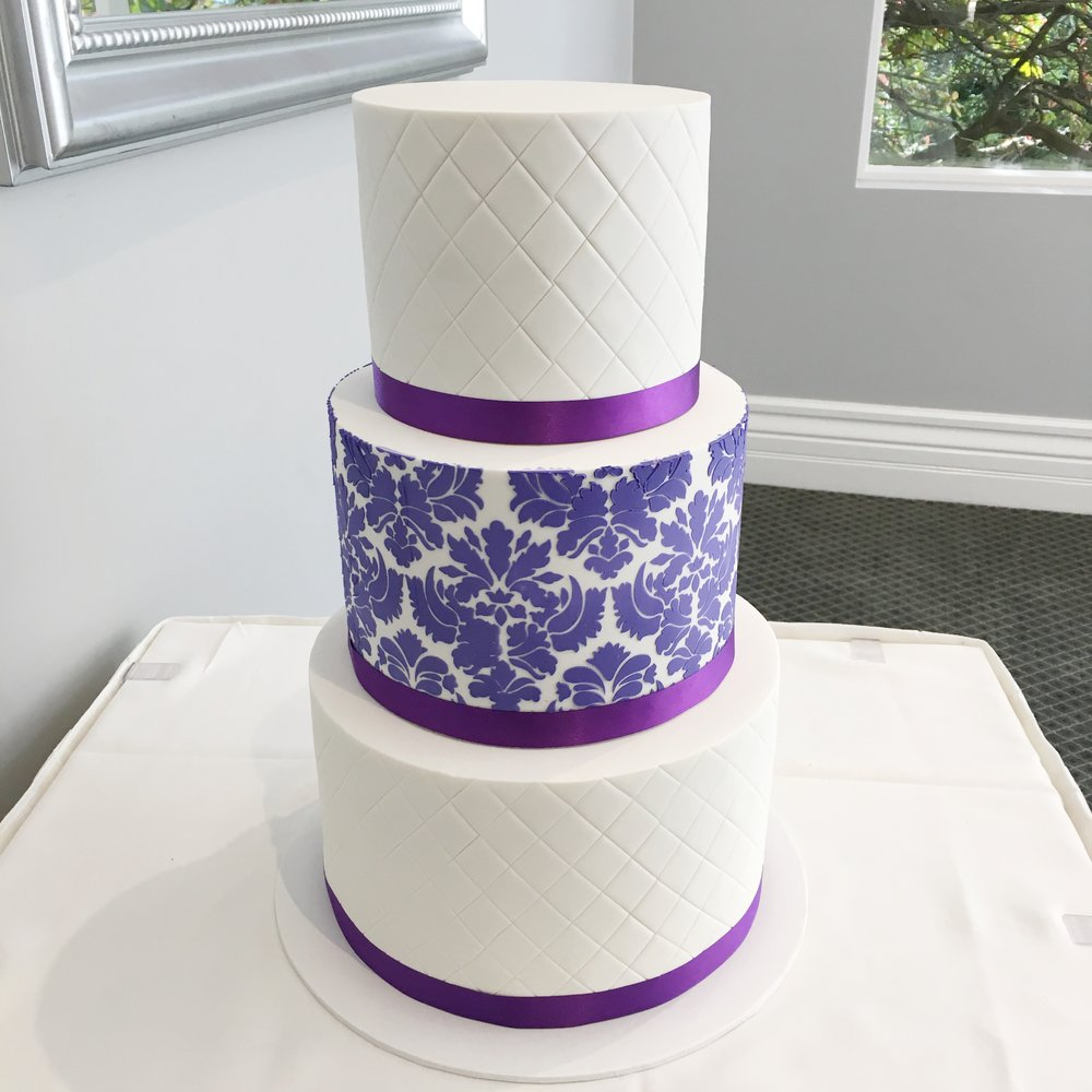 Wedding Cake with Purple Detail