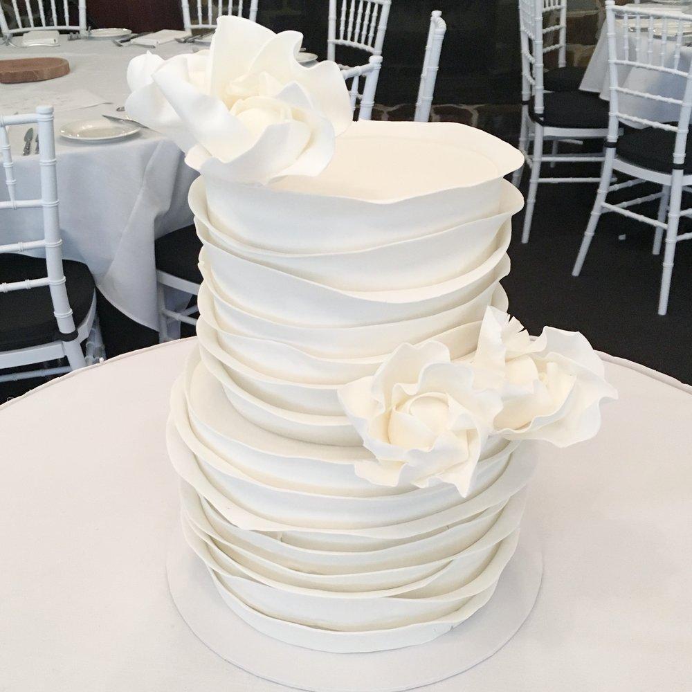 Ruffle Cake with Sugar Flowers