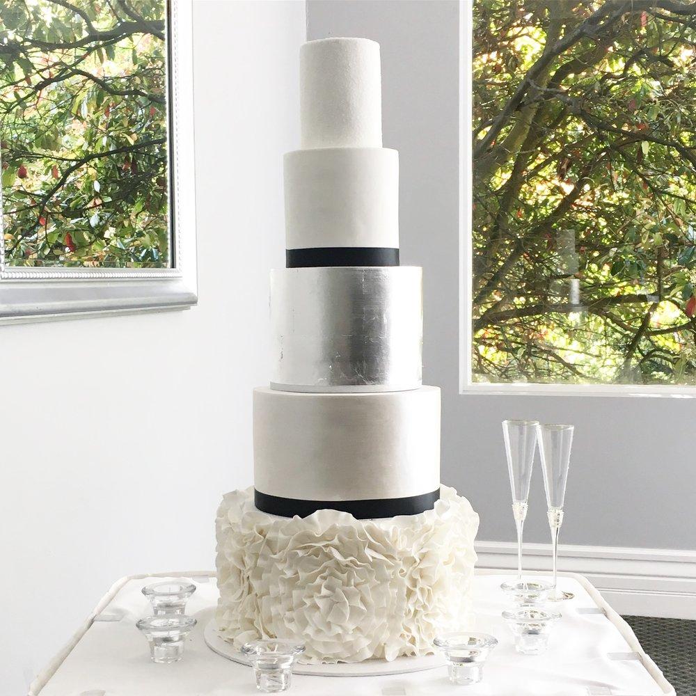 Ruffle & Silver Leaf Wedding Cake