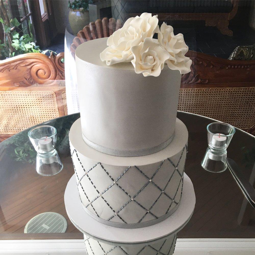 Silver Wedding Cake with Sugar Flowers