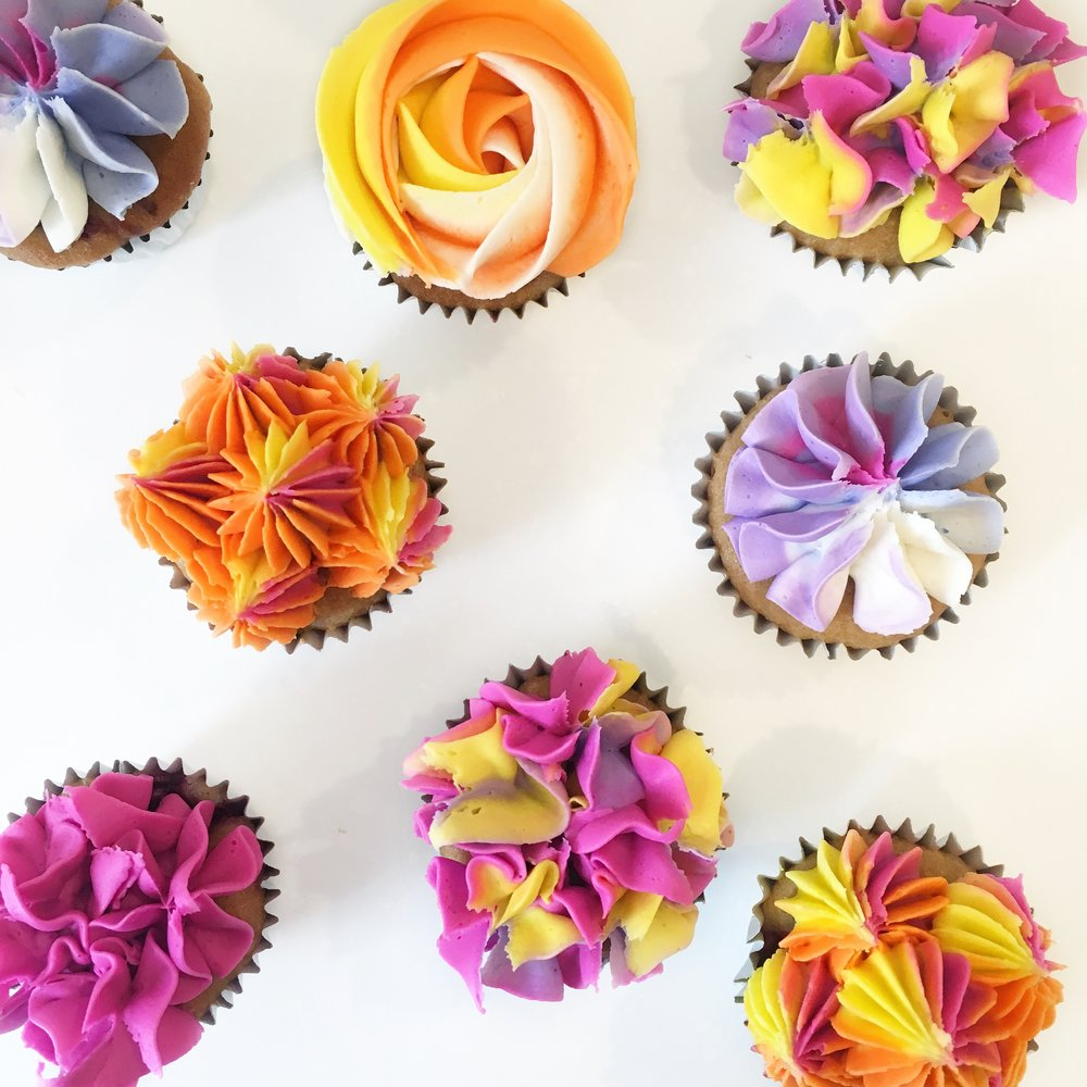 Bright Flower Cupcakes