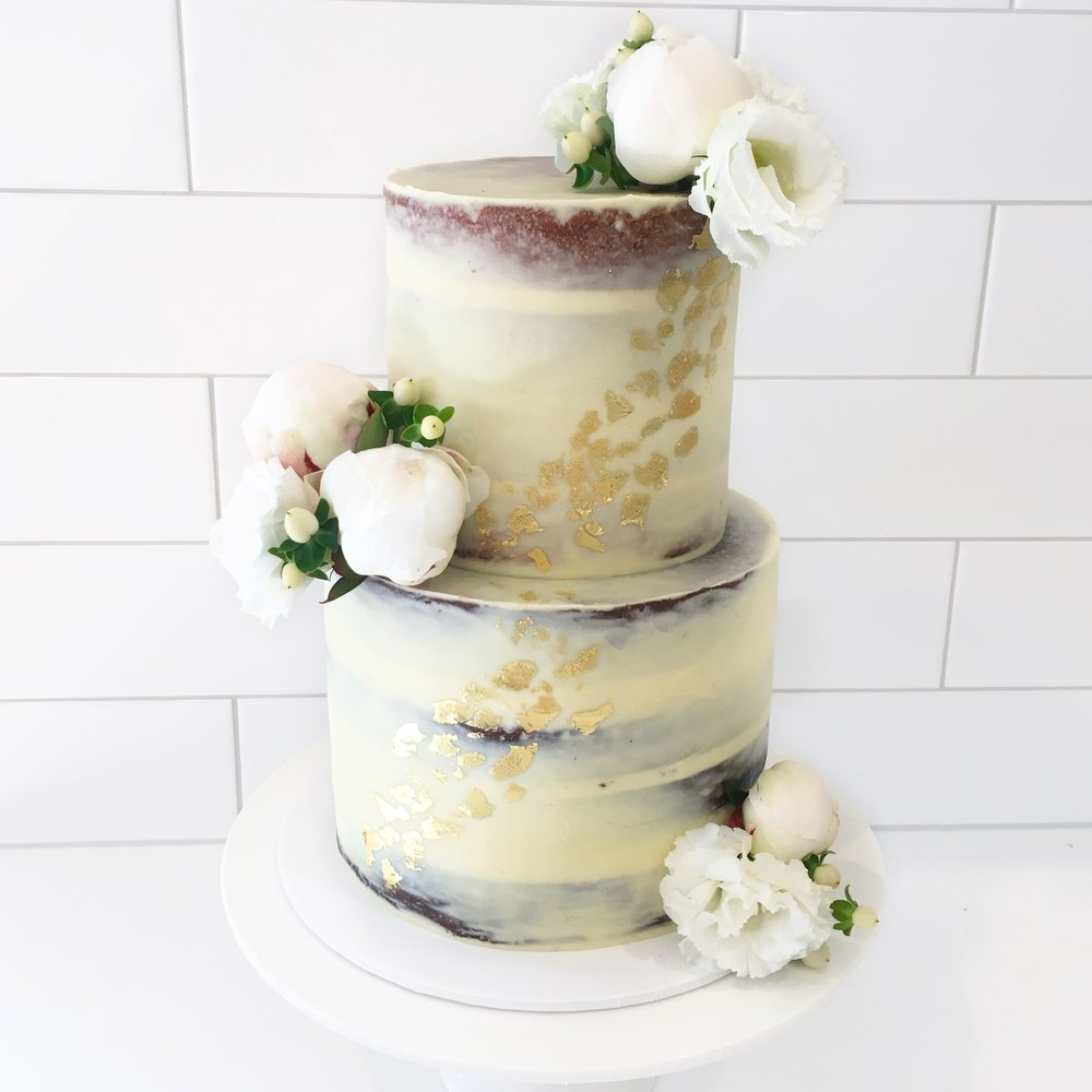Naked Cake with Flowers & Gold Leaf