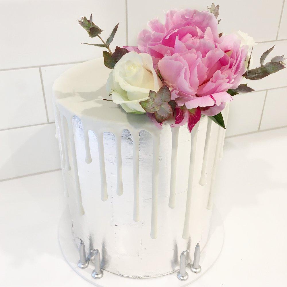 Silver Leaf Cake with Fresh Flowers