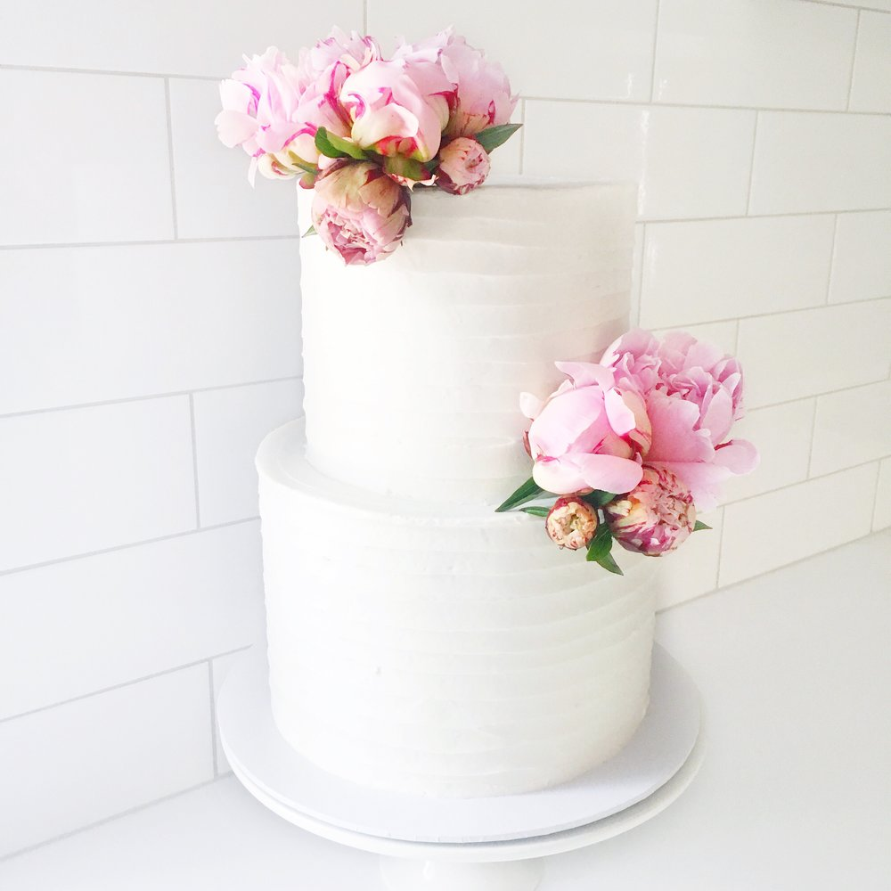 Buttercream Cake with Pink Flowers