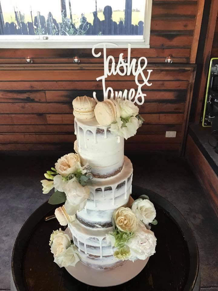 Naked Cake with Drip & Fresh Flowers