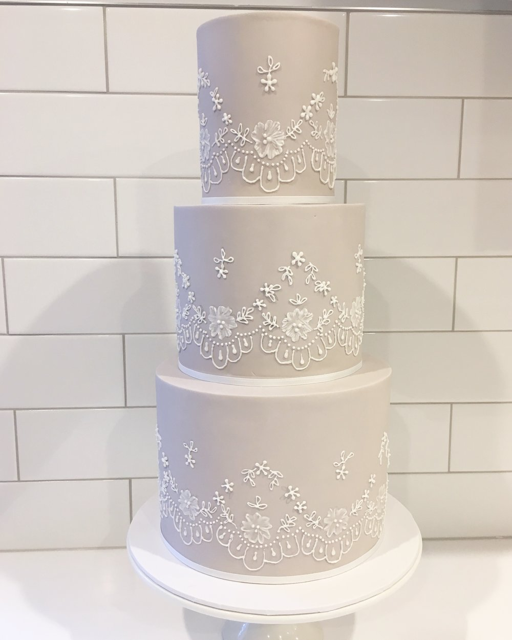 Wedding Cake with Hand Piping