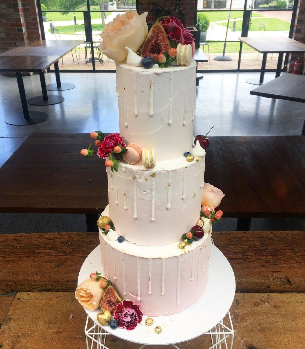 Pink Wedding Cake with Drip