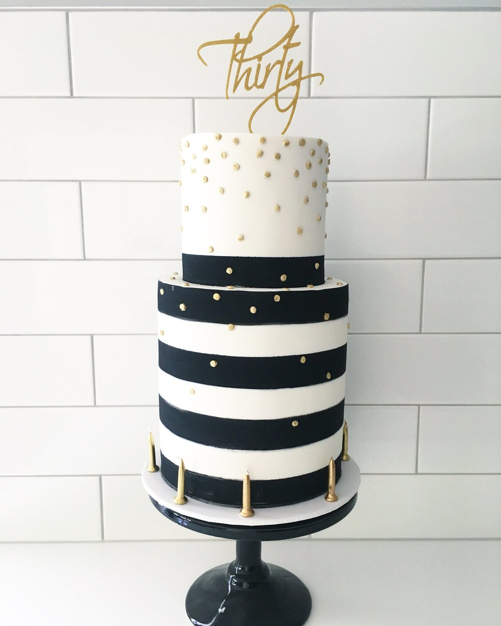 Black White Gold 30th Birthday Cake