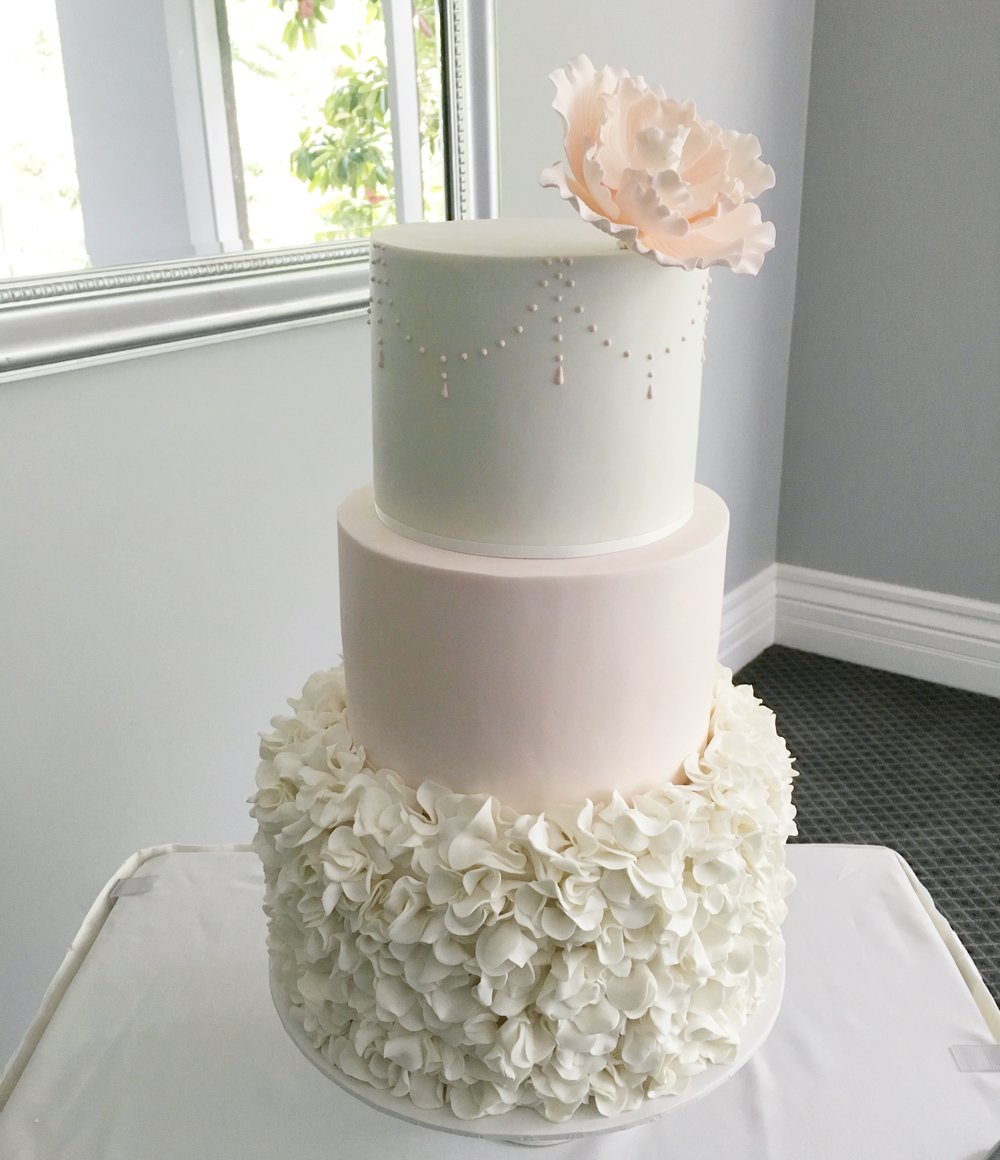 Pink and White Wedding Cake with Sugar Flower