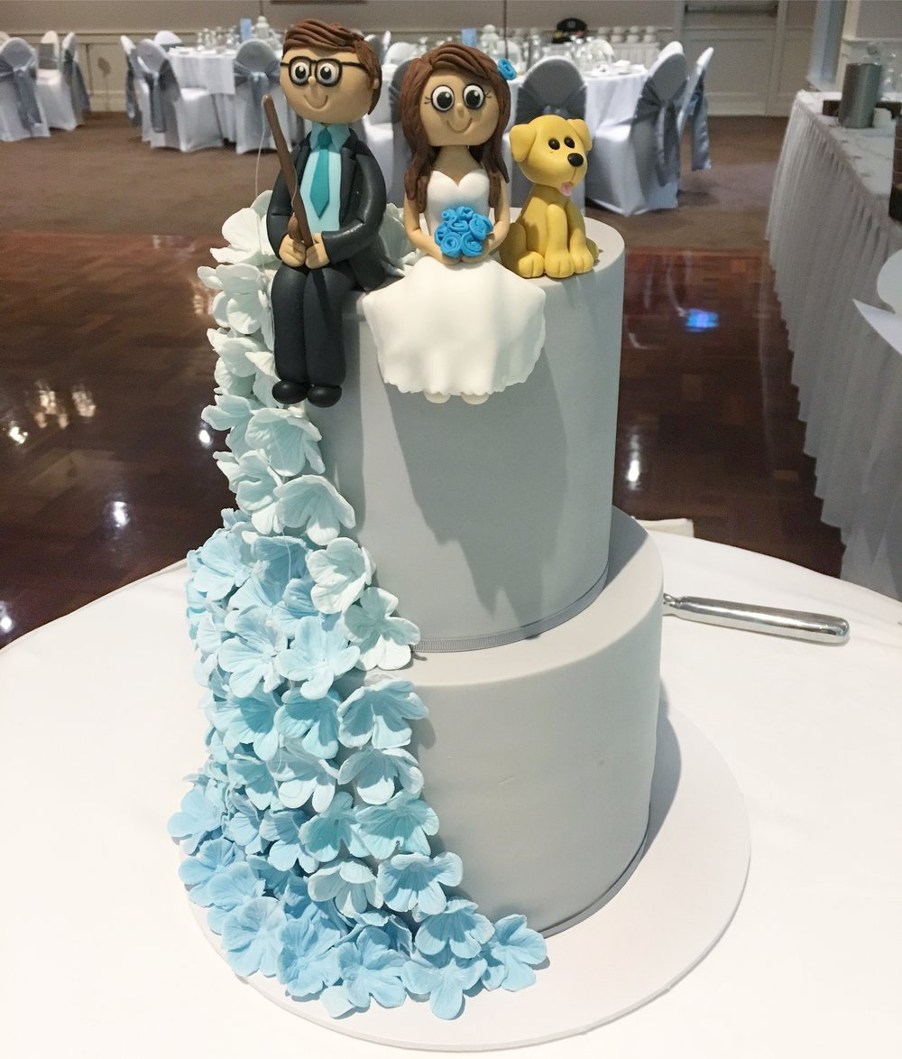 Wedding Cake with Blue Sugar Flowers