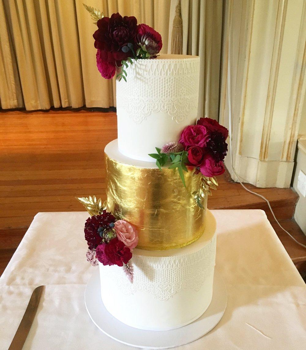 Gold Leaf Wedding Cake with Fresh Flowers