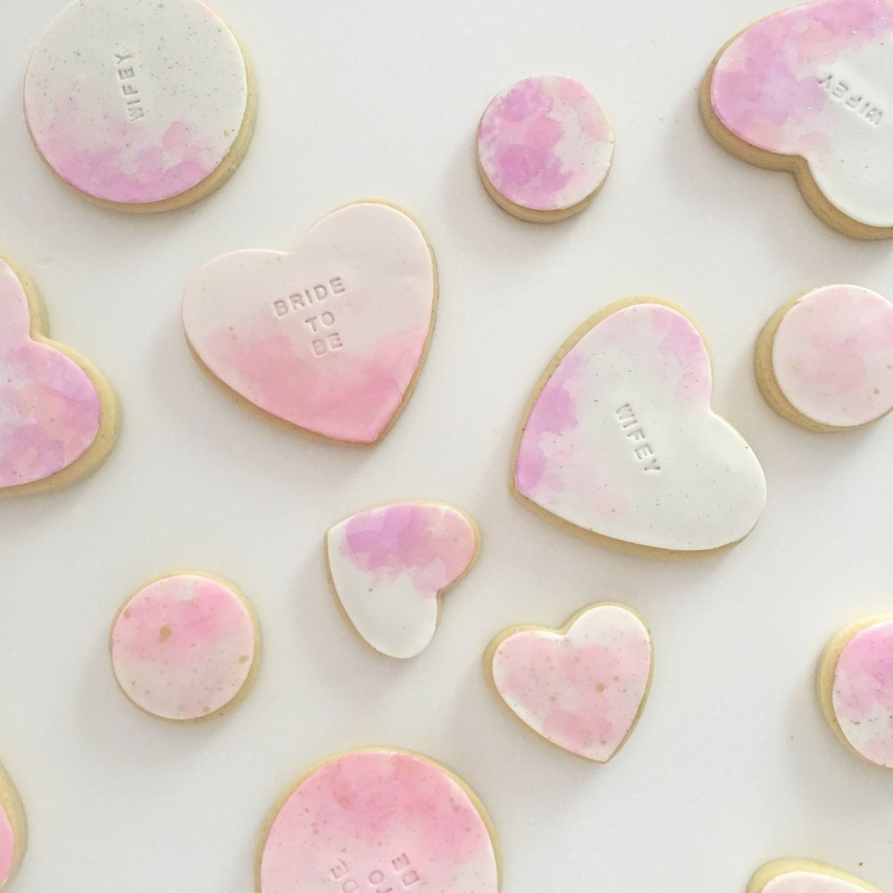 Pink Watercolour Cookies