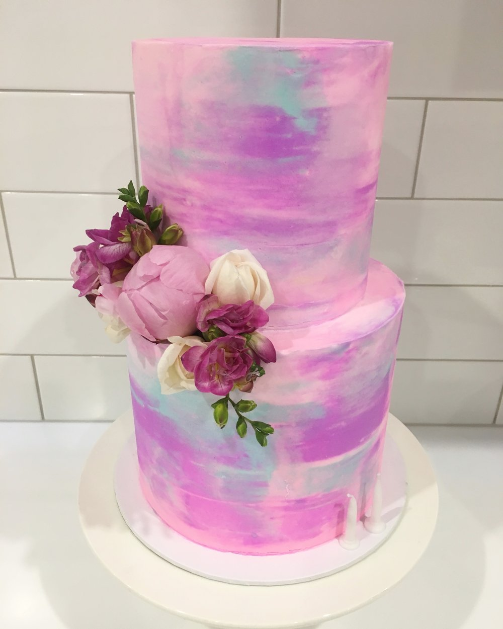 Pink and Blue Watercolour Cake