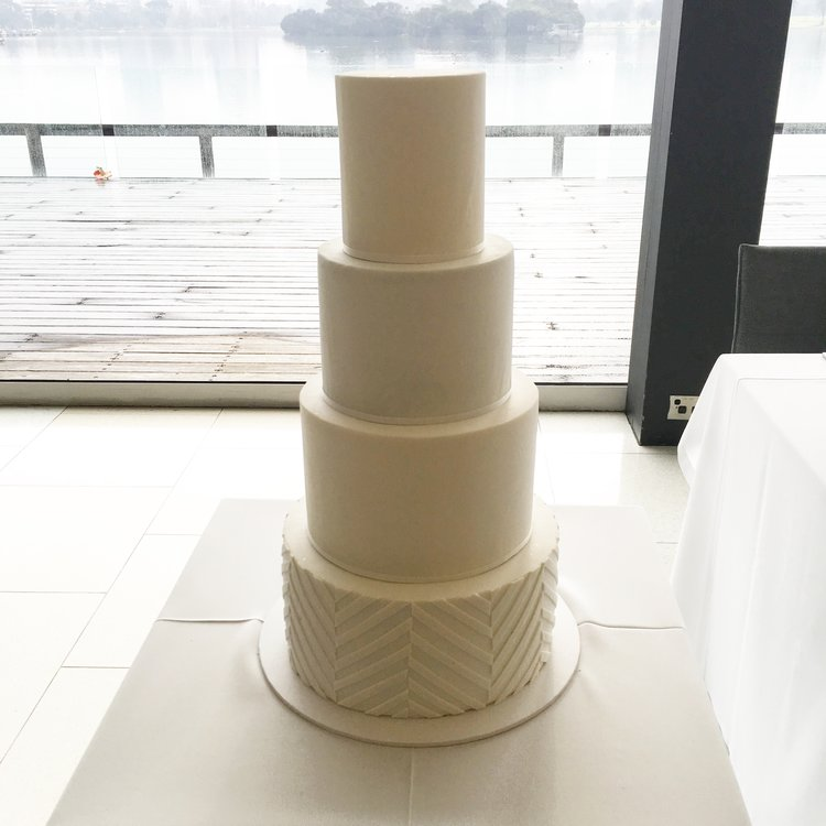 "11""/9""/7""/5""  Tea & Coffee Serves: 200-210 Dessert Serves: 100-105   Naked  starts from $785 plus  Delivery . Click  here  to enquire.    Buttercream  starts from $823 plus  Delivery . Click  here  to enquire.   Custom Cakes & Fondant Finish starts from: $835 plus  Delivery . Click  here  to enquire."