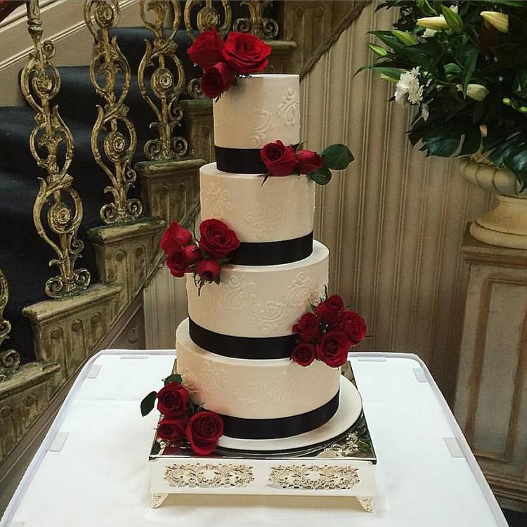 "12""/10""/8""/6""  Tea & Coffee Serves: 260-270 Dessert Serves: 130-135   Naked  starts from $810 plus  Delivery . Click  here  to enquire.    Buttercream  starts from $835 plus  Delivery . Click  here  to enquire.   Custom Cakes & Fondant Finish starts from $848 plus  Delivery . Click  here  to enquire."