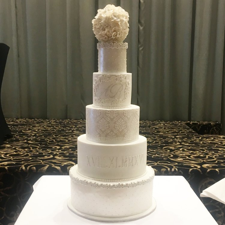 """17"""" (fake)/14""""/11""""/8""""/5""""  Tea & Coffee Serves: 310-320 Dessert Serves: 155-160   Buttercream  starts from $1410 plus  Delivery .  Custom Cakes & Fondant Finish starts from: $1440 plus  Delivery . Click  here  to enquire."""