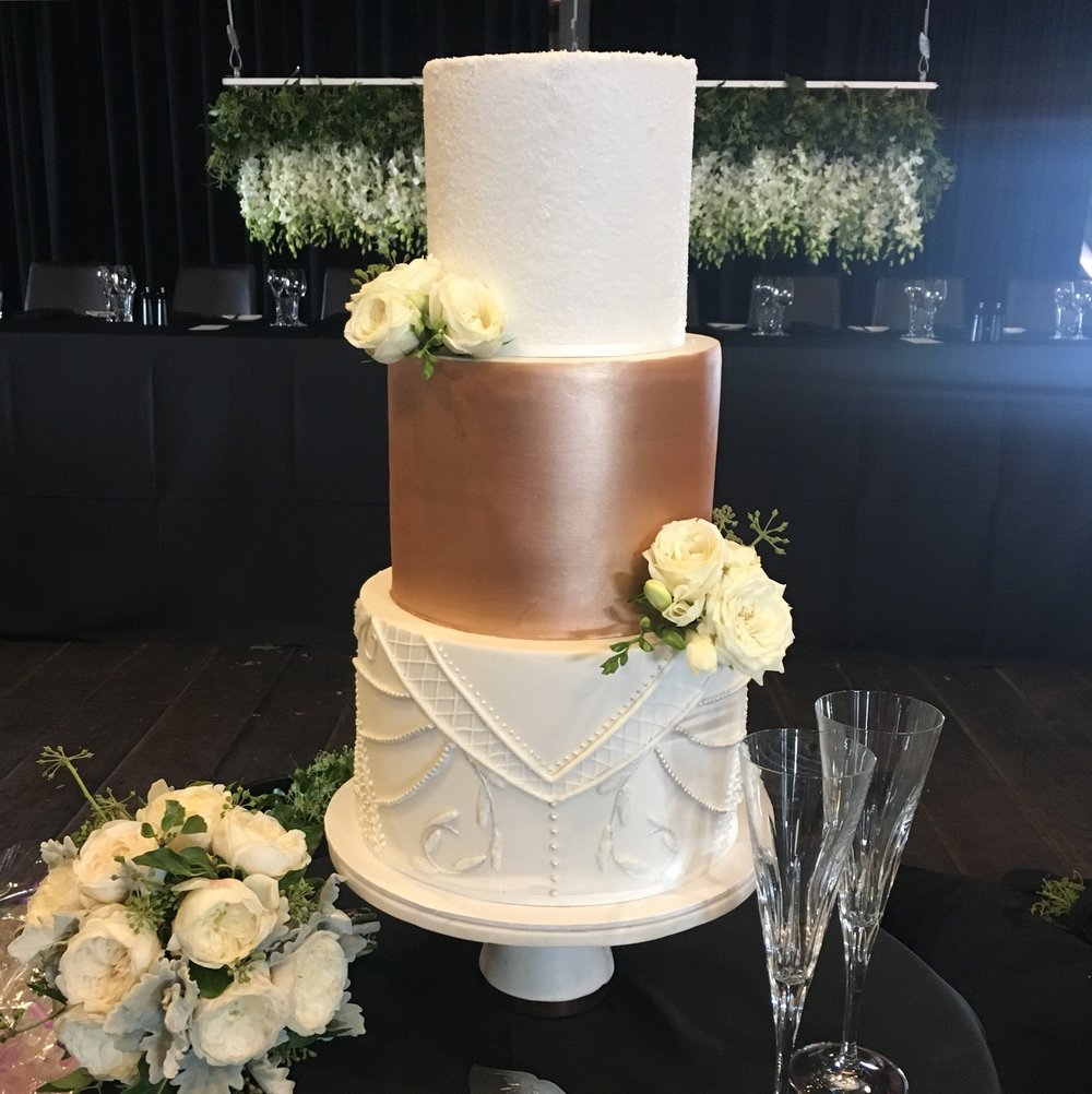 Copper and Hand Piped Wedding Cake