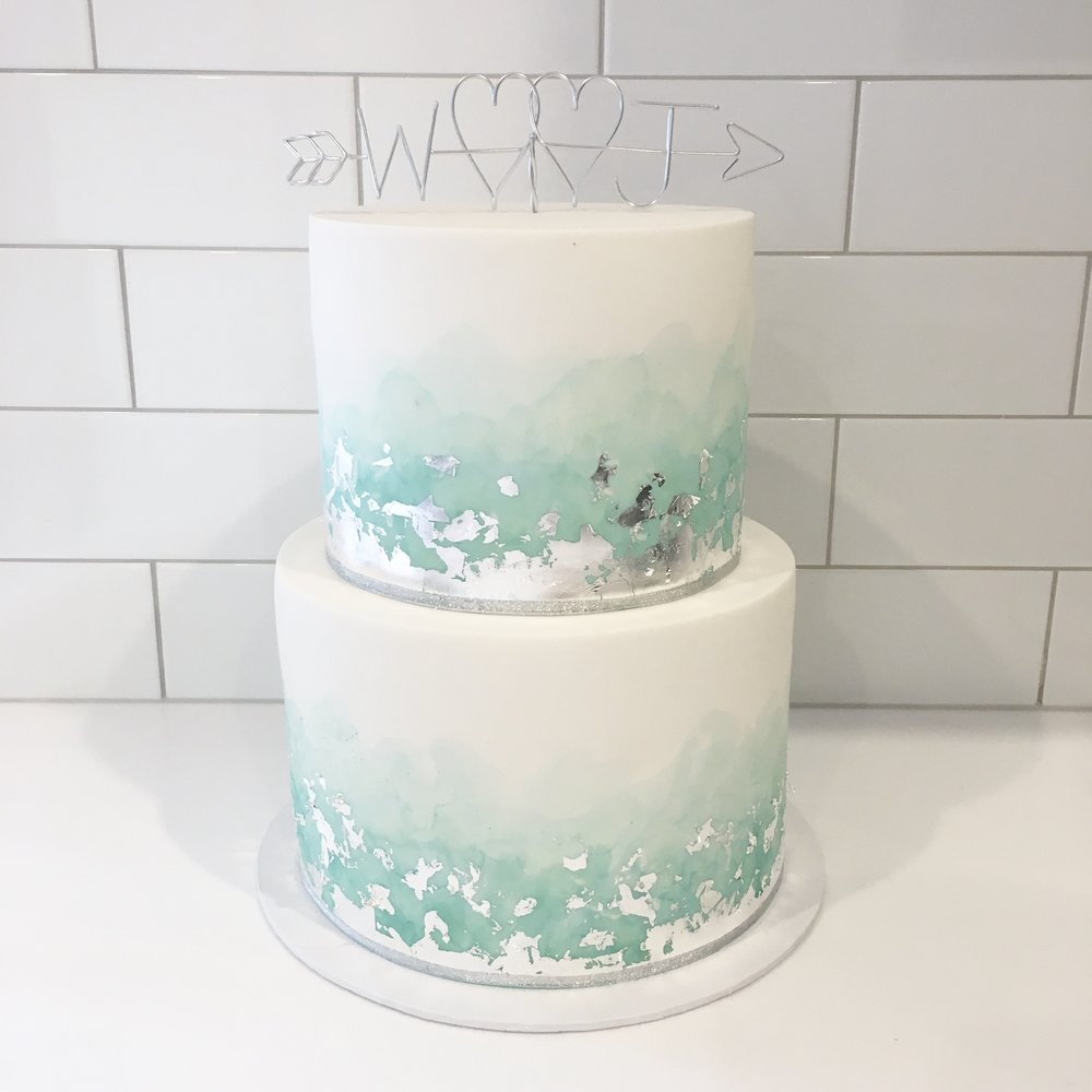 Sage Green Watercolour Cake