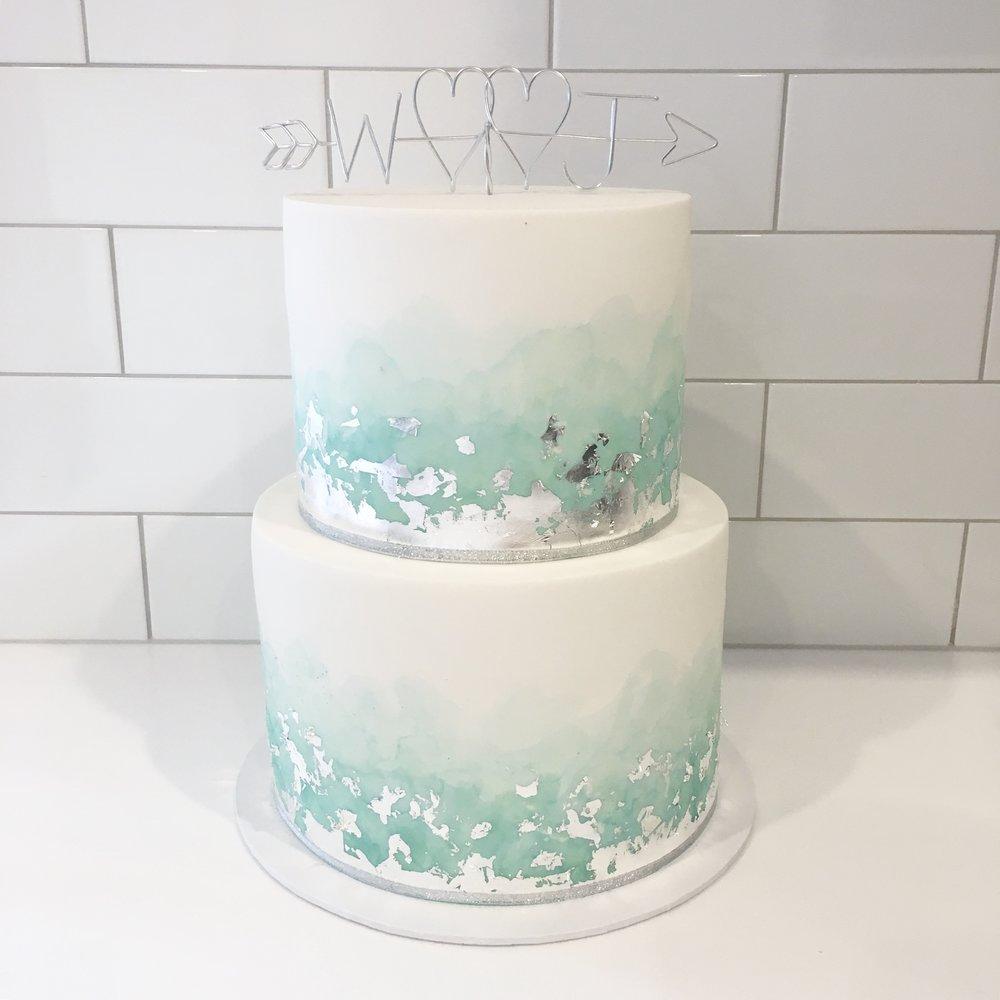 Sage Green Watercolour Cake